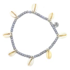 Enkelbandje kraaltjes met 8 schelpjes lila/grijs