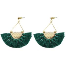 Tassel Earrings Gold - Green