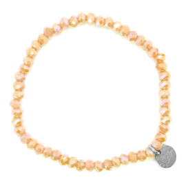 Crystal Beads Bracelet - Roze/Beige