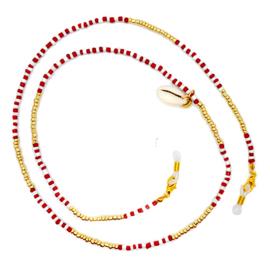 Zonnebrilkoordje met schelpje en goudkleurige, rode en witte kraaltjes