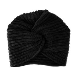 Winter Gebreide Tulband Muts - Zwart