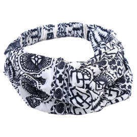 Twist Headband - White & Black Pattern