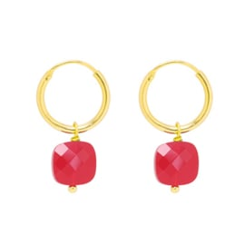 Earrings Gold & Stone - Red