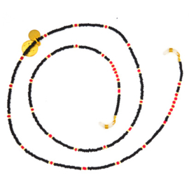 Sunglasses Cord Mini Beads - Black, Red & Gold