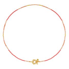 Kettinkje met goudkleurig slotje, roze en goudkleurige kraaltjes