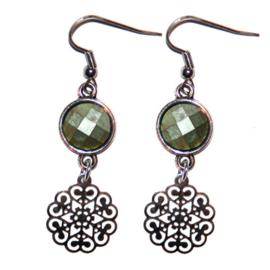 Silver Flower - Sparkle Green