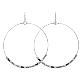 Hoops Beads Silver - Grey