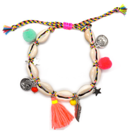 Ankle Bracelet Shell & Pompon - Happy & Colorful