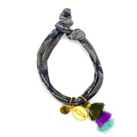 Snake Elastic - Coin & Tassel Green, Purple & Blue
