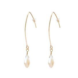Raindrop Earrings Gold - Cream Beige
