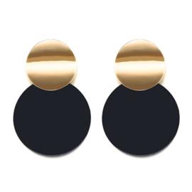 Oorbellen 2 rondjes - Zwart & Goudkleurig