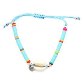 Armbandje Schelpje Koord - Kleurrijk Blauw