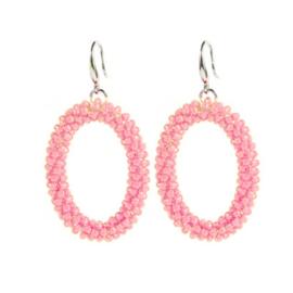 Oval Bead Earrings - Pink