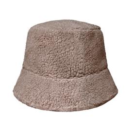 Fluffy teddy hoedje bruin/grijs