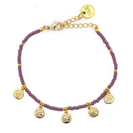 Armbandje met 5 muntjes goudkleurig en lila