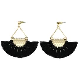 Tassel Earring Gold - Black