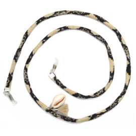 Zonnebrilkoordje - Slangenprint koord met schelpje
