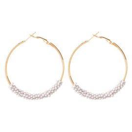 Small Beads Creolen - White