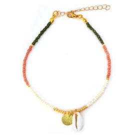 Ankle Strap Mini Beads - Yellow, White, Green & Pink