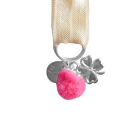 Mini Bracelet - Beige & Pink Pompom