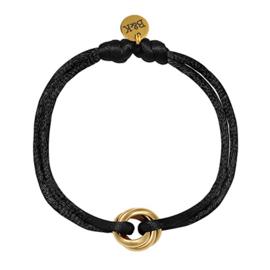 Armbandje met goudkleurige ringetjes en zwart satijnen bandje