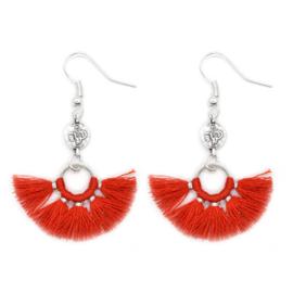 Mini Tassel Earrings Silver - Red