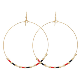 Hoops Beads Gold - Red