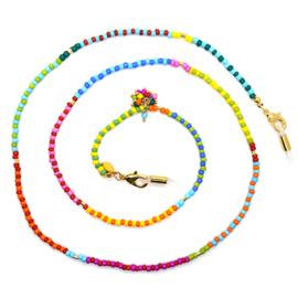 Zonnebrilkoordje kraaltjes kleurrijk met flosje