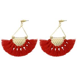 Tassel Earrings Gold - Red