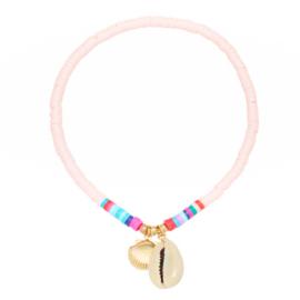 Enkelbandje - Roze en kleurrijke kraaltjes met schelpjes