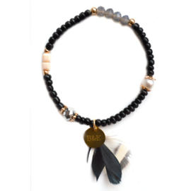 Crystal Beads & Feather - Black, Silver & Gold