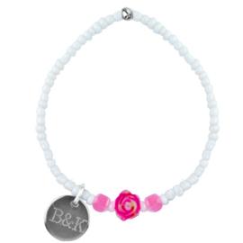 Mini Bracelet - Beads, Flower, White & Pink