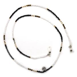Zonnebrilkoordje kleine kraaltjes - zwart, goud en wit