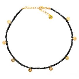 Ketting kraaltjes zwart en muntjes goudkleurig