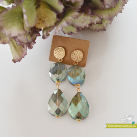 Oorbellen hangers 2 stenen - Goud & Groen