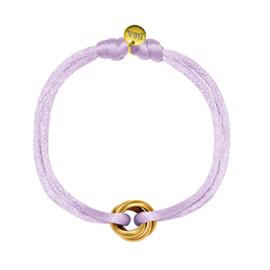 Armbandje met goudkleurige ringetjes en lila satijnen bandje