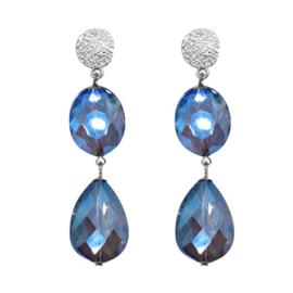 Oorbellen hangers 2 stenen - Zilver & Blauw