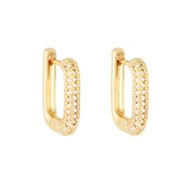 Oorbellen ovaal goudkleurig met diamantjes