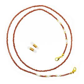Zonnebrilkoordje / Koord voor mondkapje bruin met pareltjes