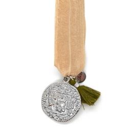 Armbandje Elastiek met Munt - Beige, Groen & Zilver