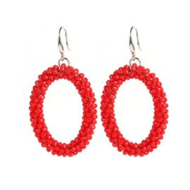 Oval Bead Earrings - Red