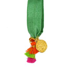 Armbandje Elastiek met Munt Green, Goudkleurig, Oranje en Roze