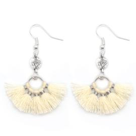 Mini Tassel Earrings Silver - Off White