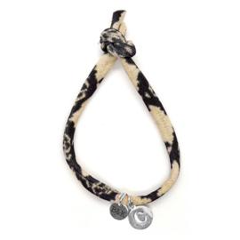 Armbandje met Letter Zilver - Slangenprint
