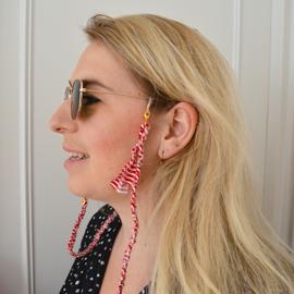 Zonnebrilkoordje/ Koordje voor mondkapje bandana rood met wit gestreept