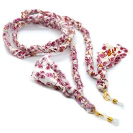 Zonnebrilkoordje/ Koordje voor mondkapje bandana bloemetjes beige roze oranje