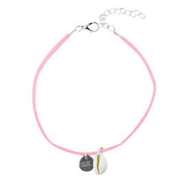 Anklet Strap Girls Suède - Pink & Shell
