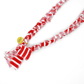 Bandana ketting rood met wit gestreept