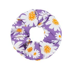 Scunchie met bloemen lila