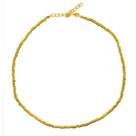 Ketting kleine kraaltjes goudkleurig/ brons